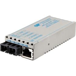 miConverter 1000Mbps Gigabit Ethernet Fiber Media Converter RJ45 SC Single-Mode 12km Wide Temp - 1 x 1000BASE-T, 1 x 1000BASE-LX, US AC Powered, Lifetime Warranty