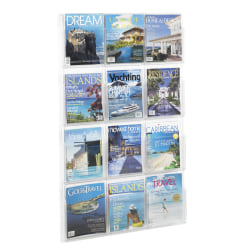 Clear Literature Rack, Magazine, 12 Pockets