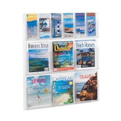 Clear Literature Rack, Combination, 6 Magazine Pockets, 6 Pamphlet Pockets