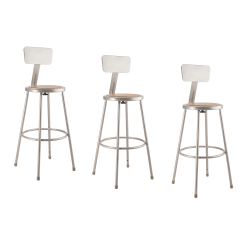 "National Public Seating Hardboard Stools With Backs, 30""H, Gray, Set Of 3"