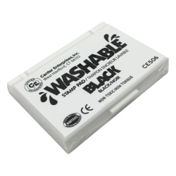 "Center Enterprise Washable Stamp Pads, 2 1/4"" x 3 3/4"", Black, Pack Of 6"