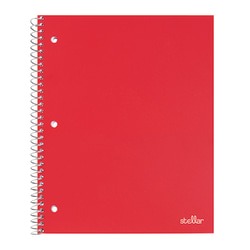 """Office Depot® Brand Stellar Poly Notebook, 8"""" x 10-1/2"""", 1 Subject, Wide Ruled, 200 Pages (100 Sheets), Red"""
