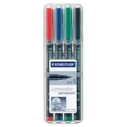 Staedtler® Lumocolor Permanent Markers, Fine Point, Black Barrel, Assorted Ink, Pack Of 4