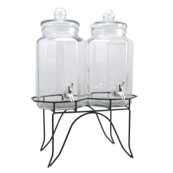 Gibson Home Party Duo Twin Beverage Dispenser, 128 Oz, Clear/Black