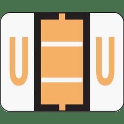 Smead® BCCR Bar-Style Permanent Alphabetical Labels, U, Light Orange, Roll Of 500