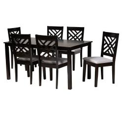 "Baxton Studio Caron Dining Set, 29-3/16""H x 59-1/16""W x 35-7/16""D, Gray/Espresso Brown"