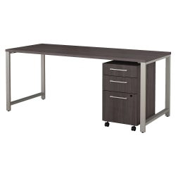 "Bush Business Furniture 400 Series Table Desk with 3 Drawer Mobile File Cabinet, 72""W x 30""D, Storm Gray, Premium Installation"