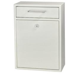 "Mail Boss Locking Security Drop Box, 16 1/4""H x 11 1/4""W x 4 3/4""D, White"