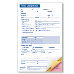 "ComplyRight Payroll Change Notice Forms, Small, 3-Part, 5 1/2"" x 8 1/2"", White, Pack Of 50"