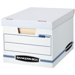"Bankers Box® Stor/File™ Basic Strength Storage Boxes, 10""H x 12""W x 15""D, 60% Recycled, White/Blue, Pack Of 13 Boxes"