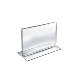 """Azar Displays Double-Foot Acrylic Sign Holders, 8"""" x 10"""", Clear, Pack Of 10"""