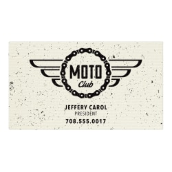 "Custom 1-Color Raised Print Business Cards, 1-Side, 3-1/2"" x 2"", Ivory Laid, Pack Of 250 Cards"