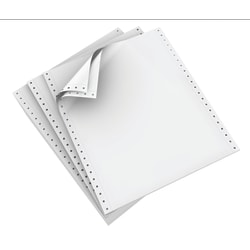 "Domtar Continuous Form Paper, 2-Part, Carbonless, 9 1/2"" x 11"", White, Carton Of 1,700 Forms"