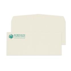 """Custom #10, 1-Color Raised Print Envelopes, 4-1/8"""" x 9-1/2"""", Off- White Linen, Box Of 250"""