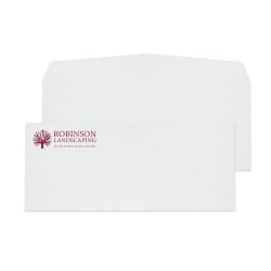 "Custom #10, 1-Color Raised Print Envelopes, 4-1/8"" x 9-1/2"", White Laid, Box Of 250"