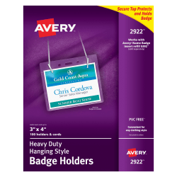 """Avery® Badge Holders, Landscape With Lanyard, For 3"""" x 4"""" Badge, Box Of 100"""