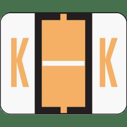Smead® BCCR Bar-Style Permanent Alphabetical Labels, K, Light Orange, Roll Of 500