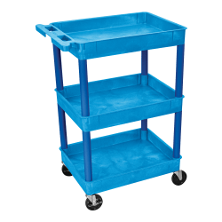 "Luxor 3-Shelf Tub Cart, 36 1/2""H x 24""W x 18""D, Blue"