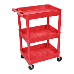 "Luxor 3-Shelf Tub Cart, 36 1/2""H x 24""W x 18""D, Red"