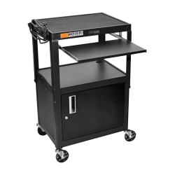 """Luxor Adjustable Height Cart, Cabinet/Pullout Tray, 42""""H x 24""""W x 18""""D, Black"""