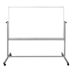 "Luxor Double-Sided Magnetic Mobile Dry-Erase Whiteboard, 40"" x 72"", Aluminum Frame With Silver Finish"