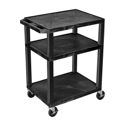 "H. Wilson Luxor Tuffy 3-Shelf Cart, 24""W x 18""D, Black"