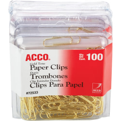 ACCO® Gold Tone Paper Clips, Regular No. 2, 10-Sheet Capacity, Gold, 100 Paper Clips Per Box, Pack Of 4 Boxes