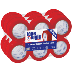 "Tape Logic® Carton-Sealing Tape, 3"" Core, 2"" x 110 Yd, Red, Pack Of 18"