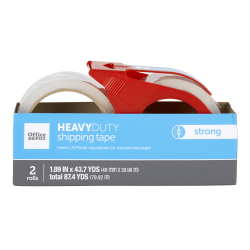 "Office Depot® Brand Heavy-Duty Shipping Tape With Dispenser, 1.89"" x 43.7 Yd., Clear, Pack Of 2"