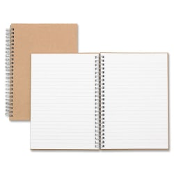 """Nature Saver Hardcover Twin Wire Notebooks - 80 Sheets - Wire Bound - 0.25"""" Ruled - Ruled - 22 lb Basis Weight - 8 1/4"""" x 5 7/8"""" - Brown Cover - Kraft Cover - Hard Cover, Heavyweight, Micro Perforated - Recycled - 1 / Each"""