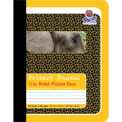"Pacon Primary Journal Composition Book - 100 Sheets - 0.50"" Ruled - 4.50"" Picture Story Space - 7 1/2"" x 9 3/4"" - White Paper - Yellow Cover - 1Each"
