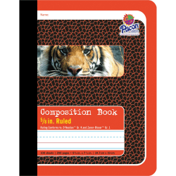"Pacon Primary Journal Dotted Midline Comp Book - 100 Sheets - 0.63"" Ruled - 7 1/2"" x 9 3/4"" - White Paper - Red Cover - 1Each"