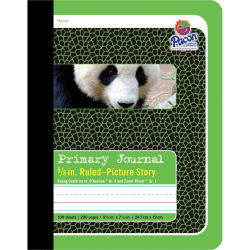 """Pacon Primary Journal Composition Book, 7-1/2"""" x 9-3/4"""", Picture Story, 0.63"""" Rule, 100 Sheets, Green"""