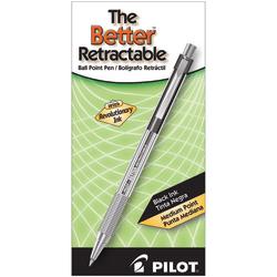 Pilot® Better™ Retractable Ballpoint Pens, Medium Point, 1.0 mm, Translucent Black Barrel, Black Ink, Pack Of 12 Pens