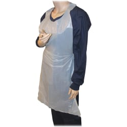 """Genuine Joe 50"""" Disposable Poly Apron - Polyethylene - For Food Service, Industrial - White - 100 / Pack"""