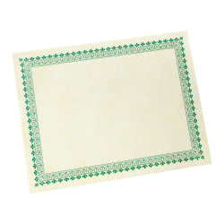 """Gartner™ Studios Green Border Certificates, 8 1/2"""" x 11"""", Pack Of 100"""