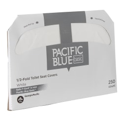 "Georgia-Pacific Safe-T-Gard™ 1/2 Fold Toilet Seat Covers, 14 1/2"" x 17"", White, 250 Per Pack, Case Of 20 Packs"