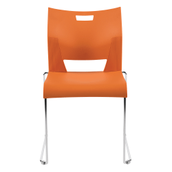 "Global® Duet Stacking Chairs, Armless, 32 1/4""H x 20 1/2""W x 22 1/2""D, Tiger Orange, Pack Of 4"