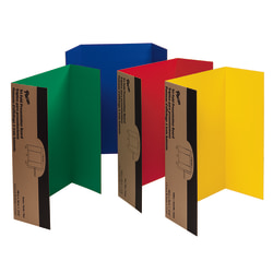 "Pacon® 80% Recycled Single-Walled Tri-Fold Presentation Boards, 48"" x 36"", Assorted Colors, Carton Of 4"