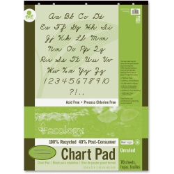 """Ecology Recycled Chart Pad - 70 Sheets - Plain - Strip - Unruled - 24"""" x 32"""" - White Paper - Eco-friendly, Acid-free, Padded, Tab, Chipboard Backing, Hole-punched, Chlorine-free, Recyclable, Cursive Alphabet, Unperforated - Recycled - 1Each"""