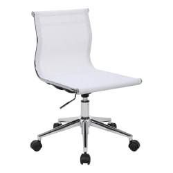 LumiSource Mirage Fabric Industrial Office Chair, White/Chrome
