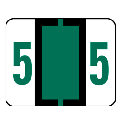 Smead® BCCRN Bar-Style Permanent Numerical Labels, 5, Dark Green, Roll Of 500