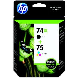 HP 74XL/75 Black/Tricolor Original Ink Cartridges (CZ139FN), Pack Of 2