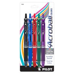 Pilot® Acroball Retractable Hybrid Gel Pens, Medium Point, 1.0 mm, Assorted Barrels, Assorted Ink Colors, Pack Of 5 Pens