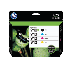 HP 940XL/940 Black/Color Original Ink Cartridges (CZ143FN), Pack Of 4