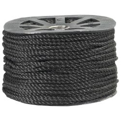 "Office Depot® Brand Twisted Polypropylene Rope, 2,450 Lb, 3/8"" x 600', Black"