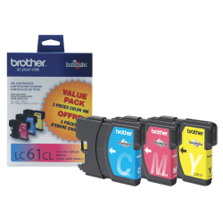 Brother® LC61CMY Tricolor Ink Cartridges, Pack Of 3