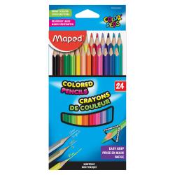 Helix Woodcase Colored Pencils - Assorted Lead - Wood Barrel - 24 / Set