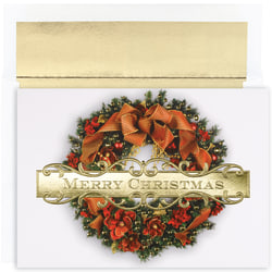 "Great Papers! Holiday Greeting Cards With Envelopes, 7 7/8"" x 5 5/8"", Christmas Wreath, Pack Of 18"