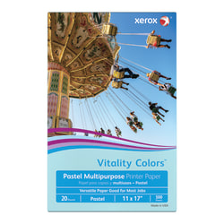 """Xerox® Vitality Colors™ Multi-Use Printer Paper, Ledger Size (11"""" x 17""""), 20 Lb, 30% Recycled, Blue, Ream Of 500 Sheets"""